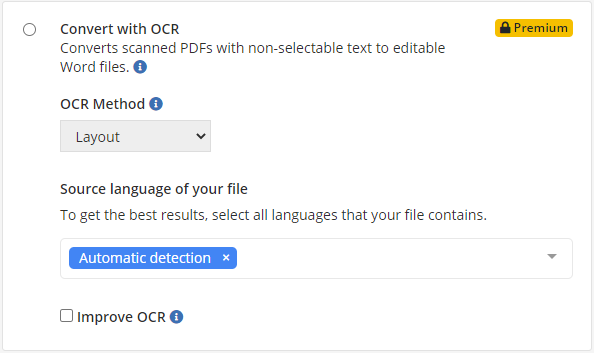 OCR conversion options