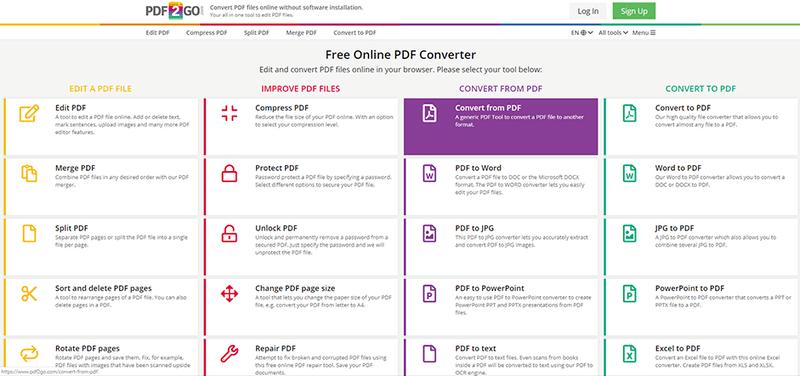Convert PDFs online on PDF2Go